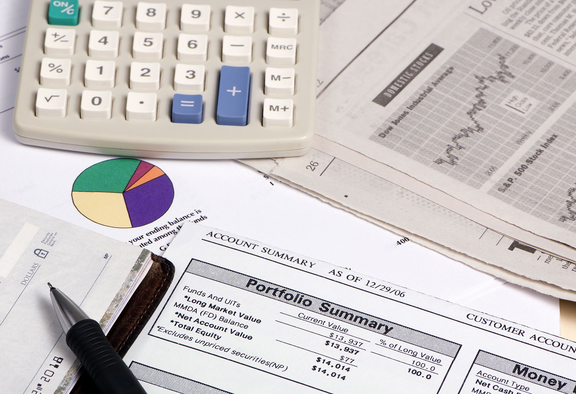 calculator and financial reports on table